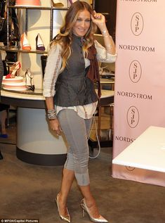 Sleek and stylish: Sarah Jessica Parker continued her shoe line promotion at a Washington DC Nordstrom on Friday