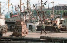 Ships in the South Kuril fishing port. 1992