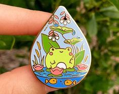 Blue Dropleterrarium Pin (The Pink Samurai & Friends May Artist Pin in a New Colorway! Arte Do Kawaii, Jacket Pins, Cute Frogs, Cool Pins, Pin And Patches, Pin Badges, Lapel Pins, Cute Art, Pin Collection