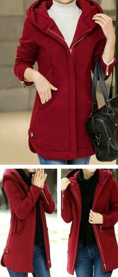 Wine Red Hooded Collar Zipper Up Curved Coat. 22 Cool Casual Style Ideas You Will Definitely Want To Try – Wine Red Hooded Collar Zipper Up Curved Coat. Pretty Outfits, Fall Outfits, Casual Outfits, Cute Outfits, Fashion Outfits, Fashion Coat, Womens Fashion, Mode Simple, Look Chic