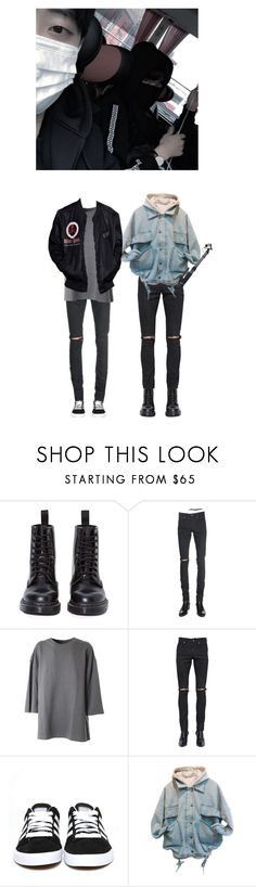 """""""Jiho & Minjae ✘ Going out"""" by x-weapon ❤ liked on Polyvore featuring Dr. Martens, Yves Saint Laurent, adidas Originals, adidas, men's fashion and menswear"""