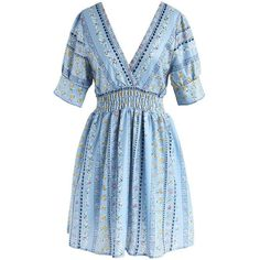 Chicwish Pineapple Vacation Wrap Dress in Blue ($47) ❤ liked on Polyvore featuring dresses, blue, bohemian dresses, blue dress, pineapple dress, boho chic dresses and slip dress