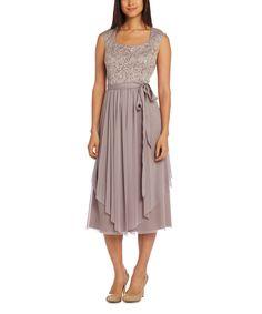 Look at this #zulilyfind! R&M Richards Champagne Bow Waist A-Line Dress by R&M Richards #zulilyfinds
