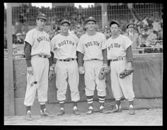 1947 - 1949 (approximate) Ted Williams, Sam Mele, unknown, and Dom DiMaggio at Braves Field for City Series.