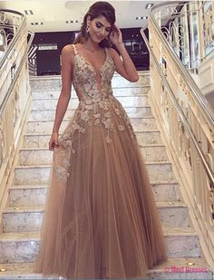 Cheap prom dresses ,Champagne Prom Dress, Handmade Flowers Prom Dress, Deep V Neck Prom Dress, A Line Prom Dress, Tulle Prom Dress PD20189094