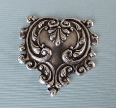Ornate Silver Repousse Finding 2843 by charmparfait on Etsy, $2.75