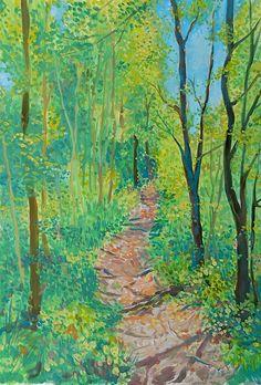 Waldweg Acrylics, Painting, Inspirational, Seasons Of The Year, Switzerland, Woodland Forest, Sketches, Landscape, Painting Art