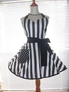 Blanco y negro raya delantal falda Circular completo, delantal Retro, rayas con puntos Retro