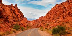 Valley of Fire Road - Nevada passes through beautiful red sandstone formations that look like they are on fire when reflecting the sun.