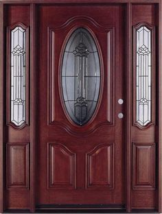 Purchase Your Solid Wood Mahogany Oval Contemporary Glass With Sidelights Exterior Pre-Hung Door Today! Limited Quantities Available! Pine Interior Doors, Wood Entry Doors, Wooden Doors, Exterior Doors With Sidelights, Double Doors Exterior, Wooden Front Door Design, Main Door Design, Traditional Front Doors, Stained Glass Door