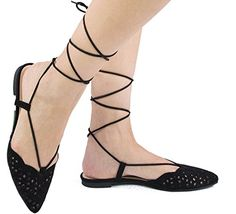 Qupid Women's Shayan-01 Pointed Toe Ankle Wrap Ballet Flats (7 B(M) US, Black)