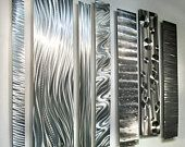 Large Metal Wall Art, Modern Metal Art Wall Sculpture, Abstract Indoor Outdoor Art - Divided Unison by Jon Allen Modern Metal Wall Art, Large Metal Wall Art, Metal Yard Art, Scrap Metal Art, Contemporary Wall Sculptures, Metal Wall Sculpture, Big Wall Art, Wall Art Sets, Silver Walls