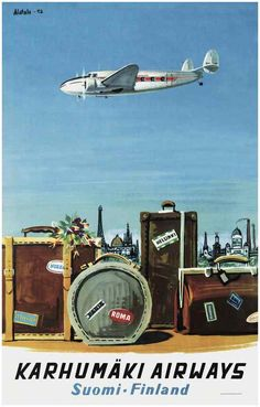 Come to Finland - Karhumäki Airways Travel Poster 1952