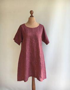 Top tunica rosso lino Abito tunica tunica di lino di Linenbeeshop