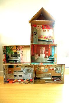This is why I keep all my magazines! I remember using magazines multiple times for school projects! But this-Really cool idea - cardboard doll house with magazine pictures. Could do with a firehouse/something more boyish, too. Cardboard Doll House with re Projects For Kids, Diy For Kids, Crafts For Kids, Diy Projects, House Projects, Cardboard Dollhouse, Cardboard Crafts, Cardboard Boxes, Diy Dollhouse