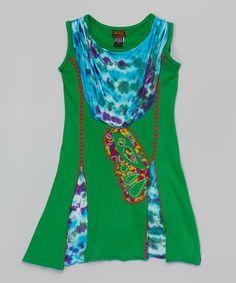Look at this #zulilyfind! Green & Blue Tie-Dye Dress - Girls #zulilyfinds