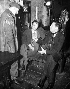 Director Carol Reed with Joseph Cotten and Trevor Howard on the set of The Third Man, 1949.