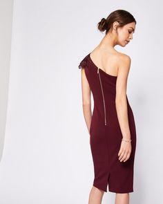 One shouldered bodycon dress - Maroon | Dresses | Ted Baker UK