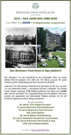 Brenners Park-Hotel & Spa Facebook Fanpage Jubiläum Welcome App TAB Social Media in Zusammenarbeit mit The-Socialist