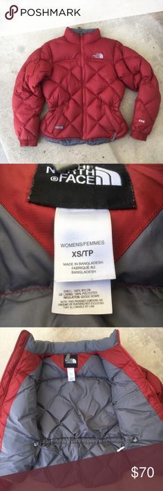 """North Face Tamba Kosi 600 Jacket Diamond quilt 600-fill goose down. Waist cinch-cord, zippered inner pocket, two outer zip pockets, & elastic cuffs. Figure flattering puffer jacket, due to the cinch cord at waist. No rips or damage, but some small wear/spots.   🍊 Size: XS, length 22/24"""" bust 19"""" sleeve 23.5""""  🍊 Condition: good  🍊 Material: shell 100% nylon, lining 100% polyester  🧡 OFFERS welcome, but please use button. I don't discuss in comments  ✖️ No trades, holds, or modeling…"""