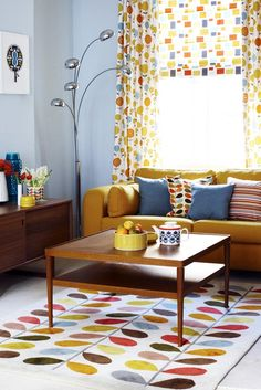 Retro Living Room Ideas combination of grey and mustard living room | decor | pinterest