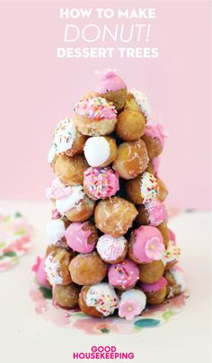 Click to find out how to make this sweet Donut Dessert Tree! It's perfect for weddings and baby showers, and it's SO easy.