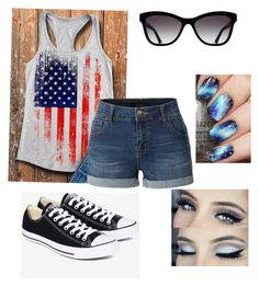 """4th of July"" by jessicaortiz2026 on Polyvore featuring LE3NO, Converse and Chanel"