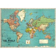Cavallini World Map Wrapping Paper / Poster High Quality / Decoupage Vintage World Map Poster, Vintage Maps, Vintage Style, Vintage Surf, Antique Maps, Design Shop, Ancient Maps, Map Wrapping Paper, Gift Wrapping