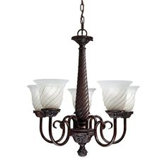 $74.19 Sleek and sophisticated, this 5-light chandelier will add a clean look to your home decor. This chandelier is polished with a beautiful Carravagio bronze finish and features 5 swirled glass shades.