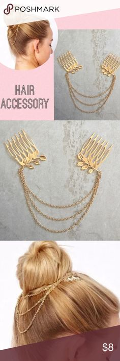 Gold layered chain leaf hair claw clip barrette Greek golden goddess style!  Wear it to dress up for events such as a wedding or evening out!.  Price is firm unless bundled Accessories Hair Accessories
