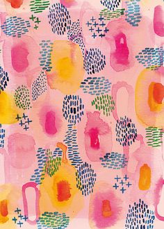 Water Colour Patterns in Pink by lovelysweetwilliam on Etsy, $15.00