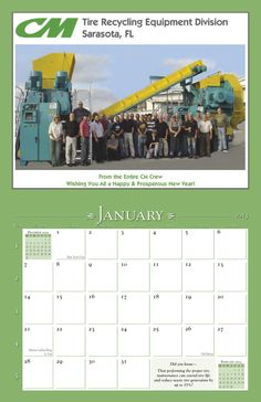 CM Tire Recycling Equipment's annual promotional calendar showcases their products and services, highlights important trade shows and industry-specific events, and includes QR codes that lead to their website. It's a great tool for their vendors and sales reps. #promotional #calendar www.yearbox.com