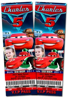 T7 Cars Ticket-disney cars 3, personalized Ticket invitations, boys invitations, boy birthday party ideas