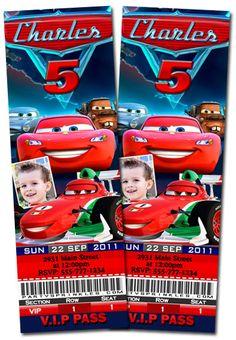 T7 Cars Ticket-disney cars 3, personalized Ticket invitations, boys invitations, boy birthday party ideas