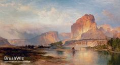 Cliffs Of Green River by Thomas Moran - Oil Painting Reproduction - BrushWiz.com