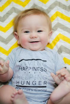 What infant and new mom wouldn't look adorable in a matching shirts that support a good cause?  Purchasing That's Caring shirts helps give a hungry child in the US the food he or she needs to grow up big and strong.