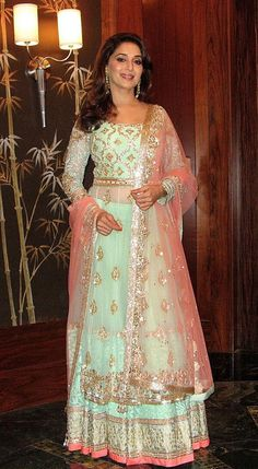 Madhuri Dixit at the IIFA green carpet in Manish Malhotra creation. Here is my look from last night's green carpet! (This image was posted on Twitter by  Madhuri Dixit-Nene )