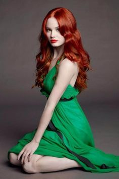 Sweet and sour!  Beautiful Red Hair  in a gorgeous Green Dress