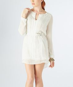 Off-White Pleated Belted Shirt Dress