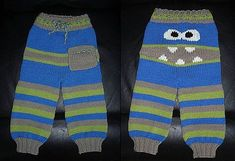 Knitted Monster Pants Pattern Is Super Cute Crochet Baby Pants, Crochet Wool, Crochet Bebe, Crochet For Boys, Knit Pants, Free Crochet, Baby Sweater Knitting Pattern, Baby Knitting Patterns, Baby Patterns