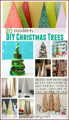 20 Different materials you can use from around the house to create DIY Modern Christmas Trees - craftionary.net