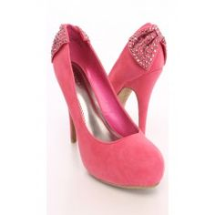 Coral Bow accent Sexy Heels Faux Suede