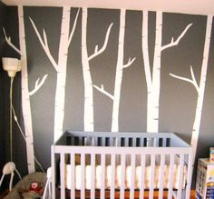 DIY: Birch tree decals from contact paper