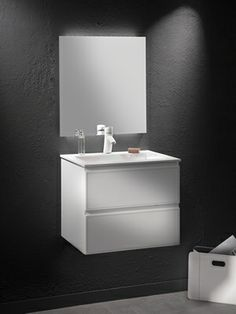 Loft & Bath® Blanc > Mobilier façade cuir Blanc > Meuble vasque avec miroir 60 cm