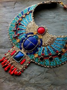 Turquoise and Coral Egyptian Scarab Necklace, with Lapis, Gold Plate, Glass, Bead Embroidered Collar Necklace Ethnic Jewelry, Beaded Jewelry, Handmade Jewelry, Crystal Jewelry, Jewelry Art, Silver Jewelry, Egyptian Scarab, Egyptian Art, Ancient Egyptian Jewelry