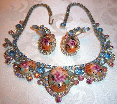 Vtg Juliana D E Painted Limoge with AB Rhinestone Necklace &  Earring Set Demi Parure  ( This one is $$$)