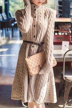 Heavy Cable Knit Button Front Sweater Dress! GORGEOUS