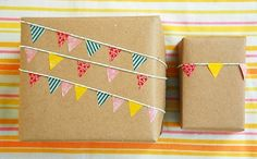 I adore simple bunting. Christmas Gift Wrap Idea. Made by Cakies [http://mycakies.blogspot.com/2010/10/no-tape.html]. Found on Babble   The New Home Ec.
