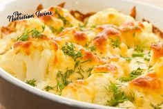 Skinny Cauliflower Gratin | Irresistible! Lightened up & Protein-packed | ONLY 162 calories & 13 g protein! | For MORE RECIPES like this, SIGN UP for OUR NEWSLETTER on NutritionTwins.com