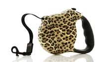 Take a walk on the wild side with our Leopard print Retractable Leash from Nandog!    Features :        Wild Leopard print retractable leash      Rubberized comfort grip handle      9ft tape style leash      Suitable for dogs up to 44lbs  Find more items for dogs and dog lovers at www.puppykisses.com.